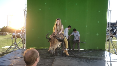We had to obviously shoot the little girl on the Gnu against green screen