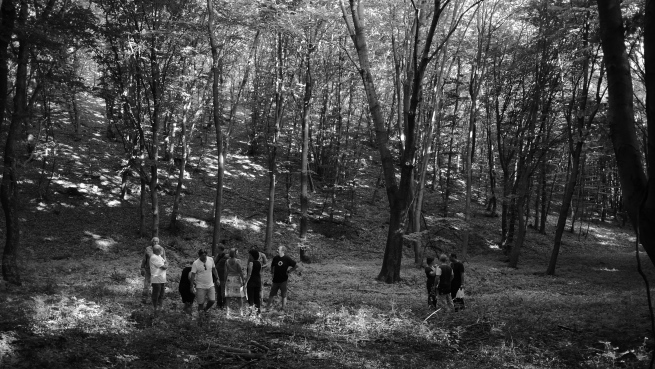 scouting the woods before the shoot