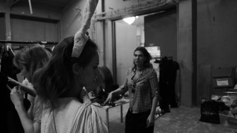 Ildilkó wardrobe stylist checking out the horns